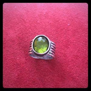 Natural green quartz sterling silver ring